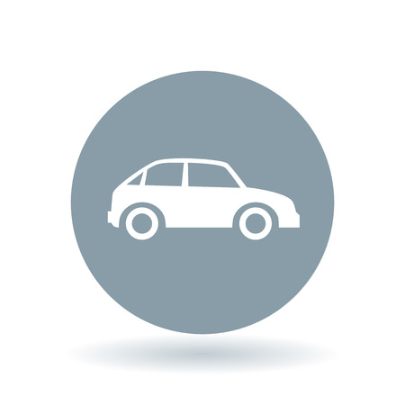 motor vehicle: Car icon. Motor vehicle sign. Automobile symbol. White car icon on cool grey circle background. Vector illustration.