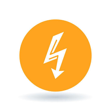 flash point: Electric thunderbolt arrow icon. Thunder strike sign. Electrical flash symbol. White electric flash icon on orange circle background. Vector illustration.