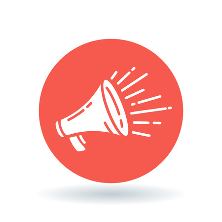 Loudspeaker icon. Megaphone sign. Announcement symbol. White loudspeaker sale icon on red circle background. Vector illustration.