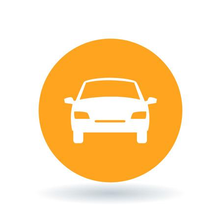 Vorderseite des Autosymbols. Kfz-Zeichen. Automobilsymbol. Weiße Kraftfahrzeug-Symbol auf orange Kreis Hintergrund. Vektor-Illustration.