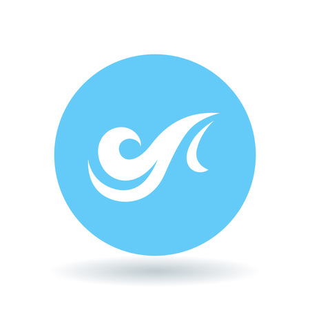 windy energy: Wind icon. gust of wind sign. Air symbol. White wind icon on blue circle background. Vector illustration. Illustration