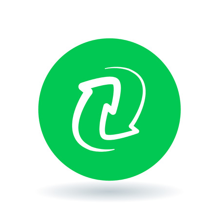recycle icon: Recycle icon. Reuse sign. Recycle symbol. White recycle icon on green circle background. Vector illustration.