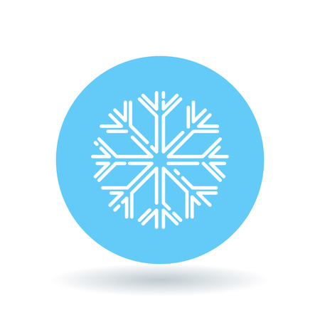 Snow flake icon. Snowflake sign. Winter symbol. White snowflake icon on blue circle background. Vector illustration. Vettoriali