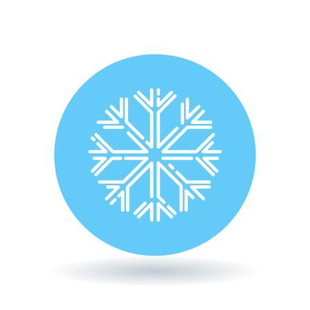 Snow flake icon. Snowflake sign. Winter symbol. White snowflake icon on blue circle background. Vector illustration. Stock Illustratie