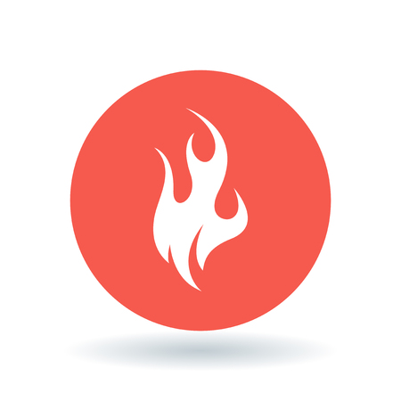 fire symbol: Fire icon. Flame sign. Flammable symbol. White fire icon on red circle background. Vector illustration.