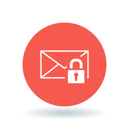 encrypted: Secure email icon. Protected email with padlock sign. Encrypted email symbol. White secure email icon on red circle background. Vector illustration.
