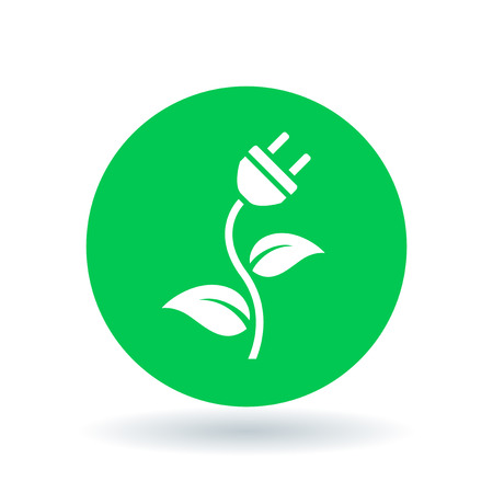 Natural green eco energy icon with electric plug, plant and leaf symbol on green circle background. Vector illustration.