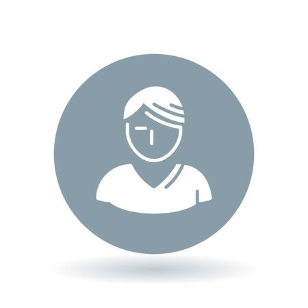 male portrait: Male portrait icon. Profile sign. Avatar symbol. White male profile icon on cool grey circle background. Vector illustration. Illustration