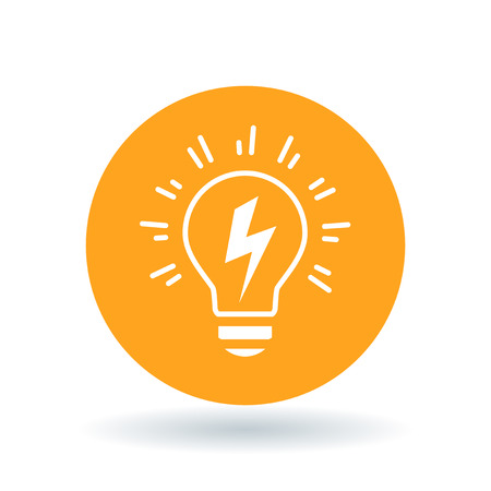 Conceptual lightbulb Idea icon. lightbulb flash sign. lightbulb electricity symbol. White lightbulb bolt flash icon on orange circle background. Vector illustration.