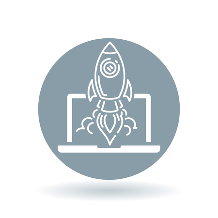 takeoff: Conceptual rocket launch icon. Spaceship with laptop sign. Rocket take-off symbol. White flying rocket laptop icon on cool grey circle background. illustration. Illustration