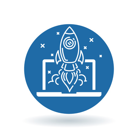 takeoff: Conceptual rocket launch icon. Spaceship with laptop and stars sign. Rocket take-off symbol. White laptop spaceship icon on blue circle background. illustration.
