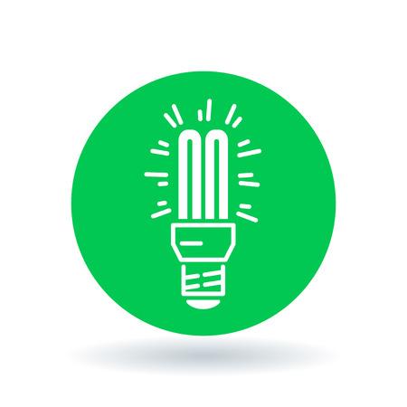 Fluoreszierende Glühbirne Symbol. Kompakte Glühbirne Zeichen. CFL Lampe-Symbol. Weiße fluoreszierende Glühbirne Symbol auf grünem Kreis Hintergrund. Illustration. Standard-Bild - 53245337