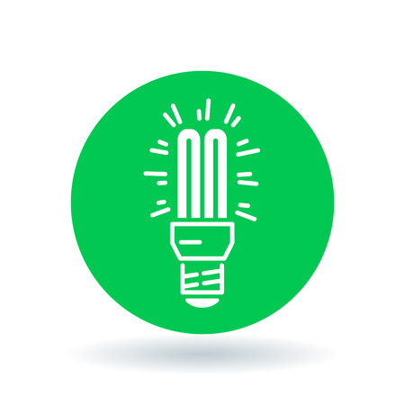 Fluorescent light bulb icon. Compact lightbulb sign. CFL bulb symbol. White fluorescent lightbulb icon on green circle background. illustration.