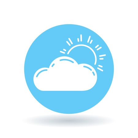 partly cloudy: Sun and clouds icon. Partly cloudy sign. Sunlight and clouds symbol. White sun cloud icon on blue circle background. illustration.
