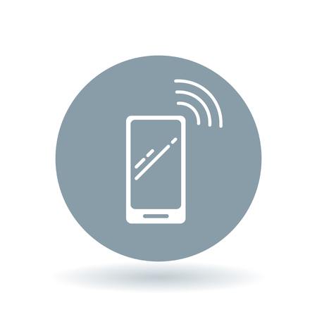 phone symbol: Wireless smartphone icon. Wifi mobile phone sign. Network cellphone symbol. White smart phone icon on cool grey circle background. illustration. Illustration