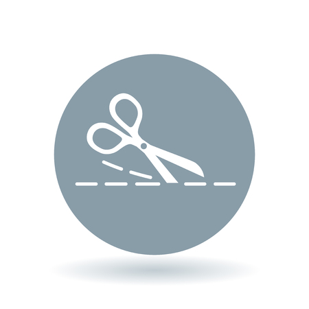 snip: Scissors cutting icon. Scissors cut sign. Scissors snip symbol. White cutting scissors icon on cool grey circle background. illustration. Illustration