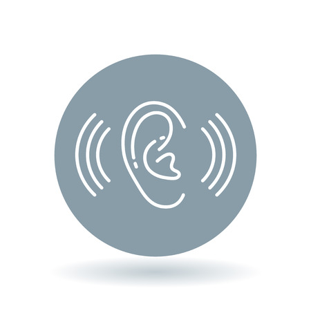 hearing aid: Ear hearing aid icon. Volume increase sign. Ear hear symbol. White ear volume icon on cool grey circle background. illustration.