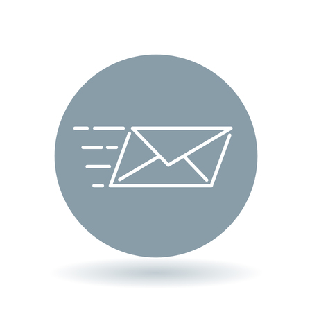 sender: Speed mail icon. Email send sign. Mail courier symbol. White email delivery icon on cool grey circle background. illustration. Illustration