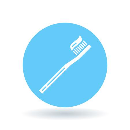 brush teeth: Brush teeth icon. Toothbrush with toothpaste sign. Dental care symbol. White toothbrush icon on blue circle background. illustration. Illustration
