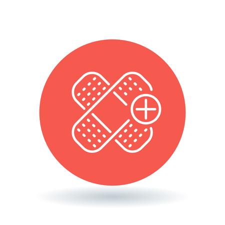 white bandage: Bandage icon. Bandage sign. plaster symbol. White Bandage icon on red circle background. illustration. Illustration