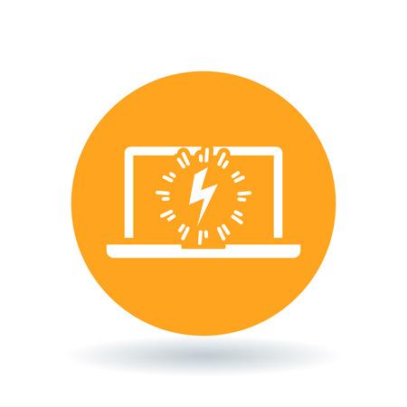 sign orange: Laptop power charge icon. Notebook lightning bolt sign. Computer electric flash symbol. White laptop charge icon on orange circle background. illustration. Illustration