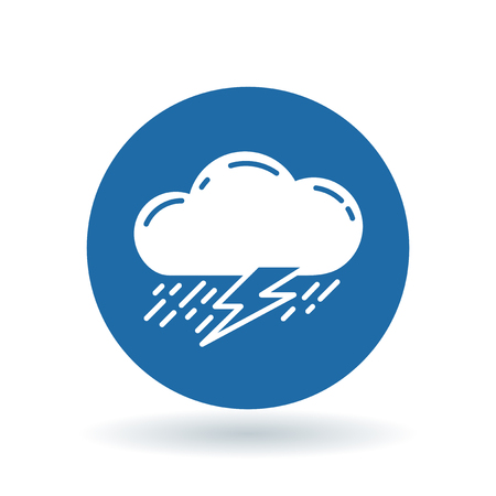 torrential rain: Cloud with rain and lightning thunderstorm icon. Cloud thunderstorm sign. Cloud storm symbol. White cloud storm icon on blue circle background. illustration.