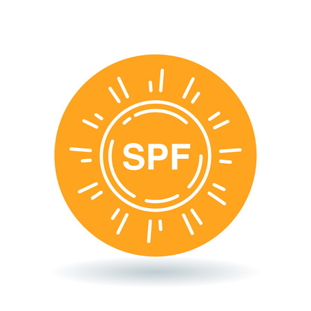 skin burns: SPF sun icon. SPF symbol. UV SPF protection sign. White SPF sun icon on orange circle background. Vector illustration. Illustration