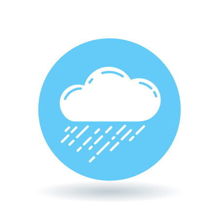 rainfall: Rain cloud icon. Rain storm sign. rainfall symbol. White rain cloud icon on blue circle background. Vector illustration.