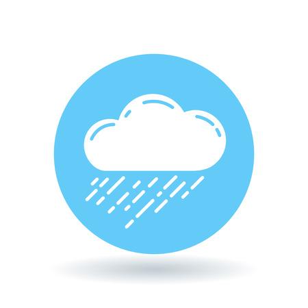 storm cloud: Rain cloud icon. Rain storm sign. rainfall symbol. White rain cloud icon on blue circle background. Vector illustration.