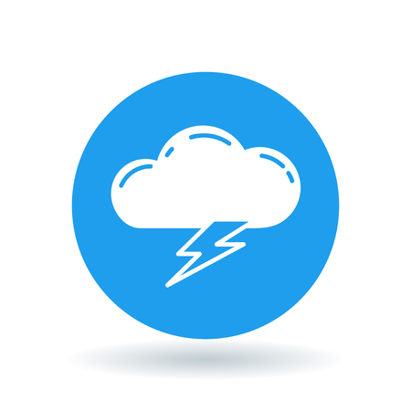 storm cloud: Cloud lightning bolt icon. Cloud lightning strike sign. Electric storm symbol. White cloud electric strike icon on blue circle background. illustration.