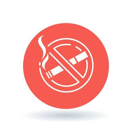 non  smoking: No smoking zone icon. Non smoking area sign. Smoking prohibited symbol. White non-smoking icon on red circle background. illustration.