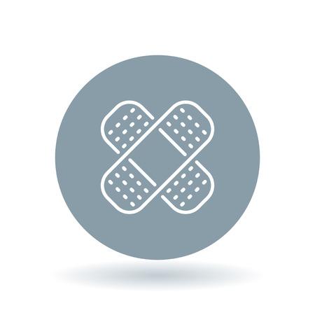 white bandage: Bandage icon. Bandage sign. plaster symbol. White Bandage icon on cool grey circle background. illustration. Illustration