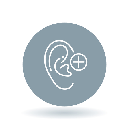 hearing: Ear hearing aid icon. Ear hearing volume sign. Ear hearing plus symbol. White ear volume icon on cool grey circle background. illustration. Illustration