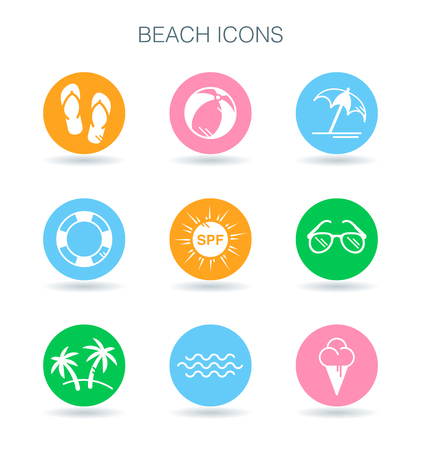 Beach icons set. Summer beach vacation symbols. Tropical surf holiday signs. Beach icons collection on colourful flat circle shapes.