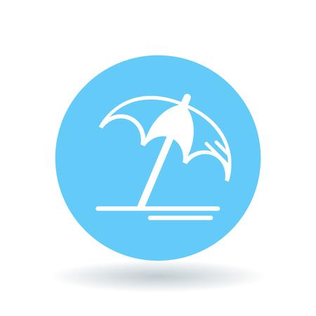 summer sign: Beach umbrella icon. Sun umbrella symbol. Summer resort umbrella sign. White beach umbrella icon on blue circle background.