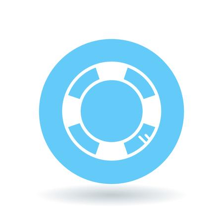 lifesaver: Life buoy icon. Life saver sign. Life preserver symbol. lifesaver icon on blue circle background.