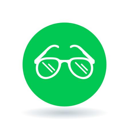 Teardrop sun glasses icon. Sunglasses sign. Aviator sun shades symbol. Summer sunglasses icon on green circle background. Vector illustration. Illustration