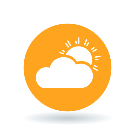 partly: Sun and clouds icon. Partly cloudy sign. Sunlight and clouds symbol. White sun cloud icon on orange circle background.