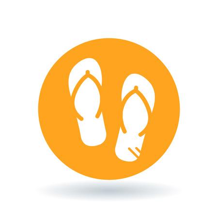 sign orange: Beach slops icon. Flip flops symbol. Summer sandals sign. White flip-flops icon on orange circle background. Vector illustration.