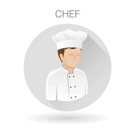 restaurant sign: Male chef icon. Cook symbol. Restaurant chef sign. Chef profile icon on light gray circle background. illustration.
