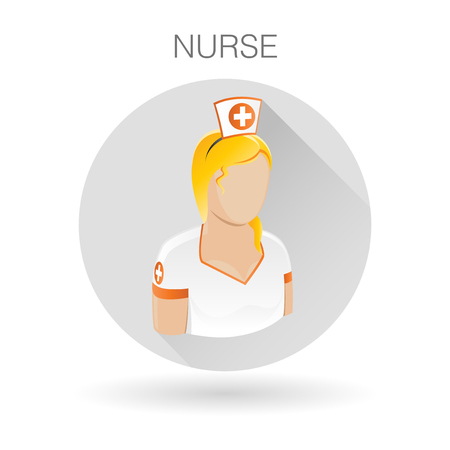 medical assistant: Female Nurse icon. Medical assistant symbol. Female medic sign. Nurse profile icon on light gray circle background. illustration.
