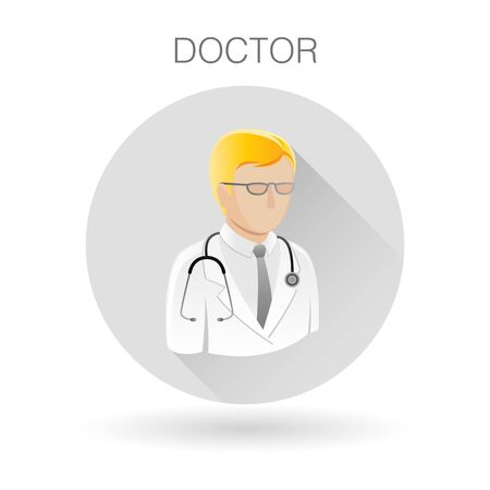 medical practitioner: Doctor icon. Medical practitioner symbol. Physician sign. Doctor profile icon on light gray circle background. illustration.