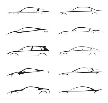 Concept supercar, sports car and sedan motor vehicle silhouette collection set on white background. Vector illustration. Иллюстрация