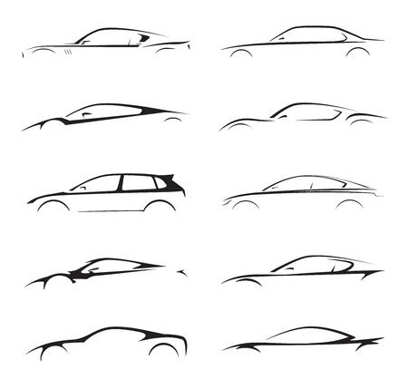 Concept supercar, sportwagen en sedan motorvoertuig silhouet collectie ingesteld op een witte achtergrond. Vector illustratie. Stock Illustratie