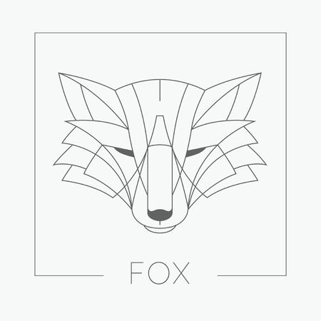 visage profil: Résumé tête de renard emblème icône design avec ligne élégante façonne style. Vector illustration. Illustration