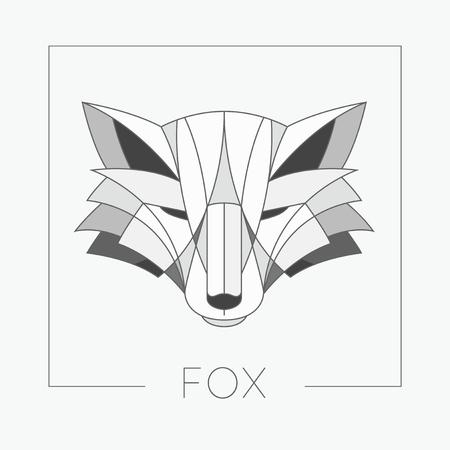 cabeza de zorro diseño abstracto icono del emblema con línea elegante da forma a estilo. Ilustración del vector.