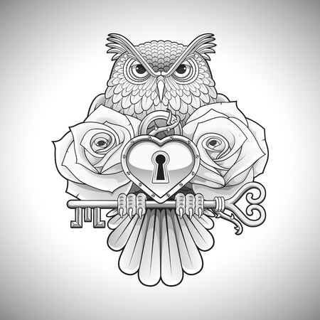 tattoo art: Beautiful black tattoo design of an owl holding a key with a heart locket and roses. Vector illustration.