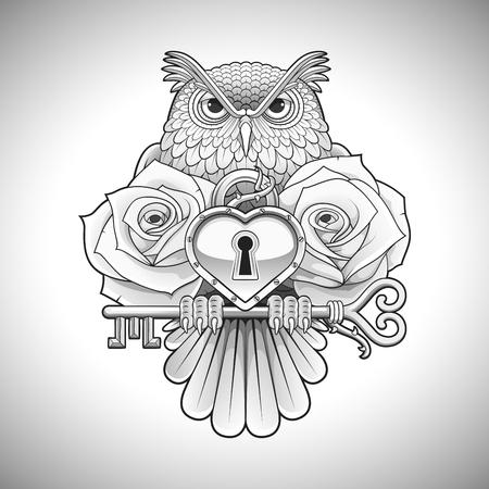 Bellissimo disegno del tatuaggio nero di un gufo che tiene una chiave con un medaglione di cuore e rose. Illustrazione vettoriale Vettoriali