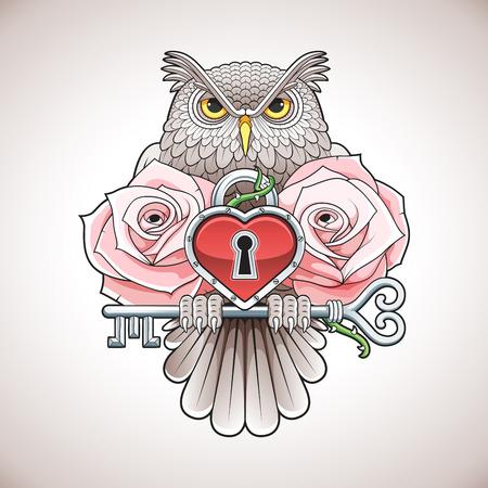 Schöne Farbe Tattoo-Design einer Eule, die einen Schlüssel mit einem Herz-Medaillon und rosa Rosen. Vektor-Illustration.