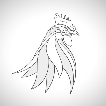 cockerel: Line drawing of a farm bird - rooster cockerel head portrait. Chinese Zodiac emblem of 2017. Vector illustration.